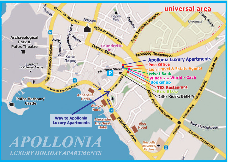 Location Maps Apollonia Holiday Apartments In Paphos Cyprus